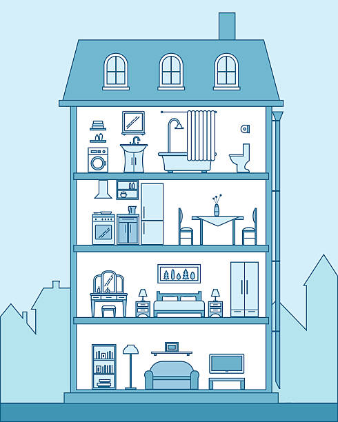 House in cut. Detailed modern house interior. House in cut. Detailed modern house interior. Rooms with furniture.  Flat line style vector illustration. bathroom borders stock illustrations