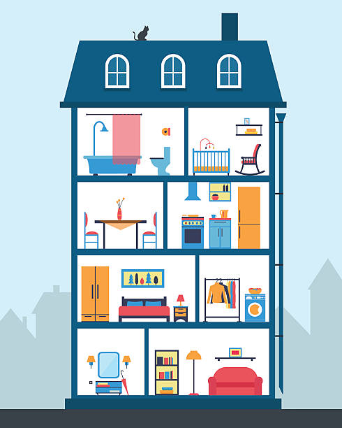 House in cut. Detailed modern house interior. House in cut. Detailed modern house interior. Rooms with furniture.  Flat style vector illustration. bathroom borders stock illustrations