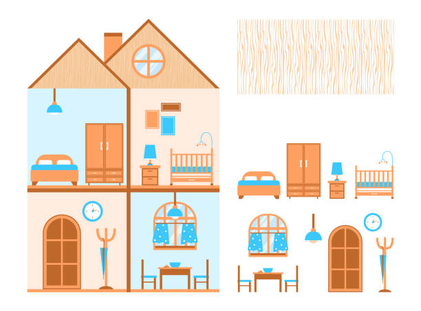 House in cut. Flat design. Rooms. Furniture vector. Isolated image House in cut. Flat design. Rooms. Furniture vector. Isolated image. Set dollhouse stock illustrations