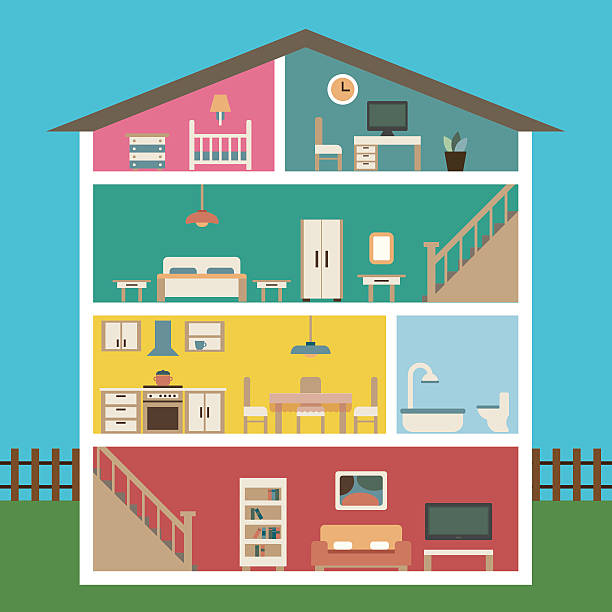 house in cut flat illustration - basement stock illustrations