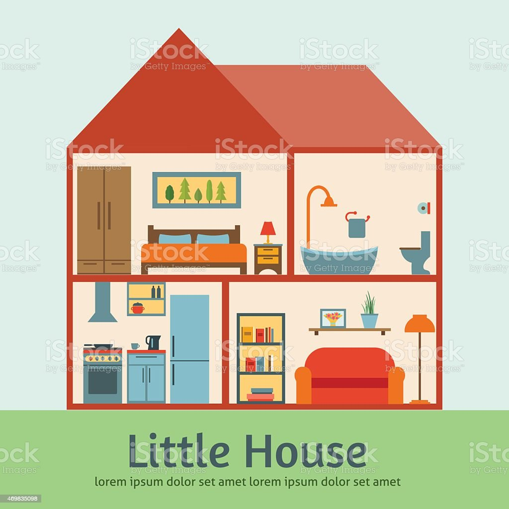House In Cut Flat Illustration Stock Vector Art More Images Of 2015 469835098 Istock