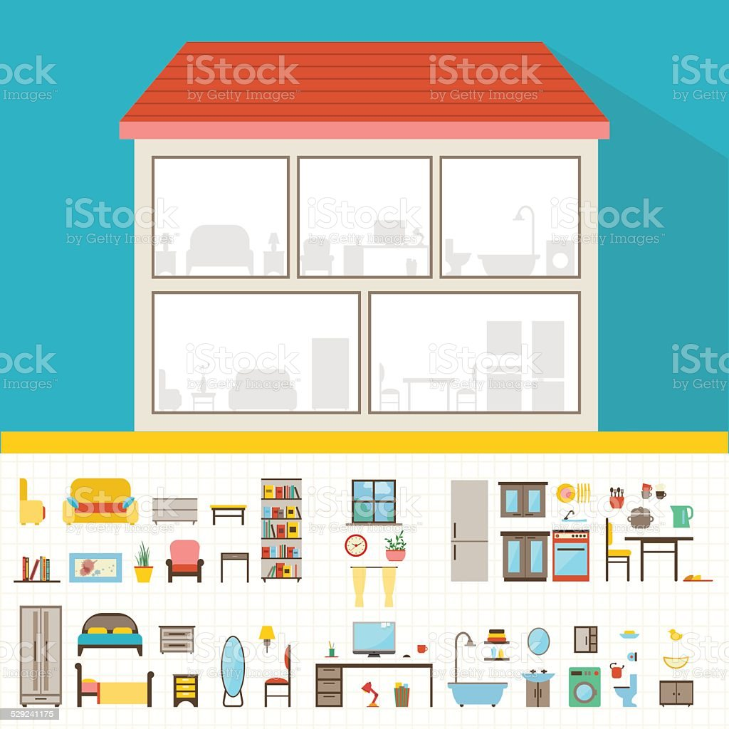 House in cut flat illustration vector art illustration