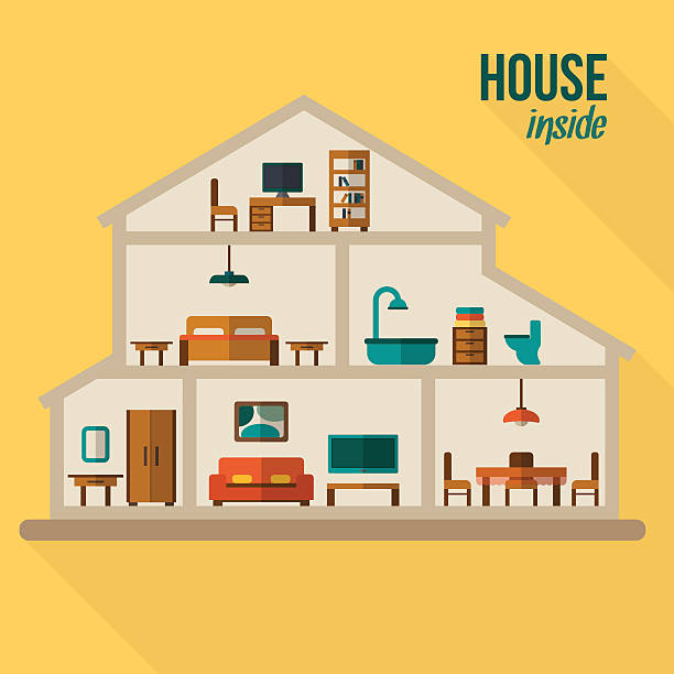 House in cut flat illustration Detailed modern house interior. Rooms with furniture.  Flat style vector illustration. bathroom borders stock illustrations