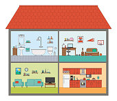 Vector illustration of a house in cut interior cross section rooms with furniture in a flat style. Bathroom, Living room, Kid's room, Kitchen.