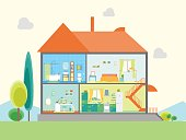 House in Cut View. Vector