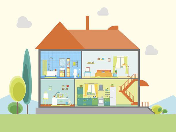 house in cut view. vector - küchensystem stock-grafiken, -clipart, -cartoons und -symbole