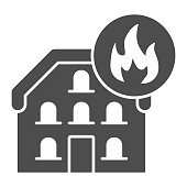House in fire solid icon. Home with fire frame glyph style pictogram on white background. Domestic heating or burning danger for mobile concept and web design. Vector graphics