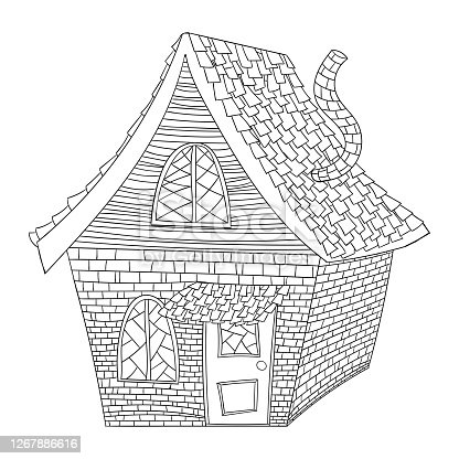 House in gothic style outline in black color on white background, stock vector illustration for design and decor, halloween, coloring, caricature, doodle