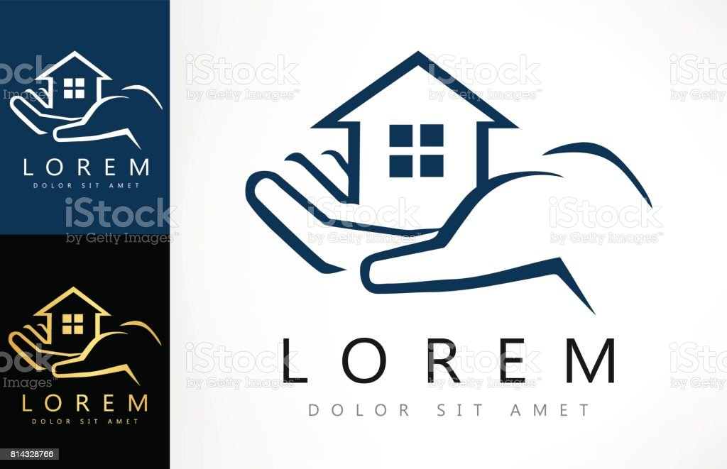 House in hand icon. vector art illustration