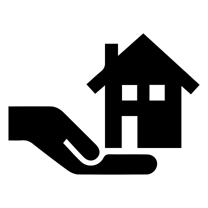 House in hand vector icon. Real estate logo simple isolated sign symbol. Black illustration on grey background.