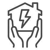 House in hands with electricity lightning line icon, smart house concept, home energy vector sign on white background, power supply at home icon in outline style for mobile. Vector graphic