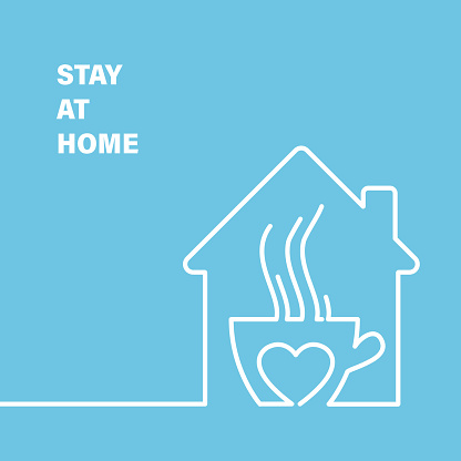 House in minimal flat style. Stay home to reduce your risk of severe illness on coronavirus.