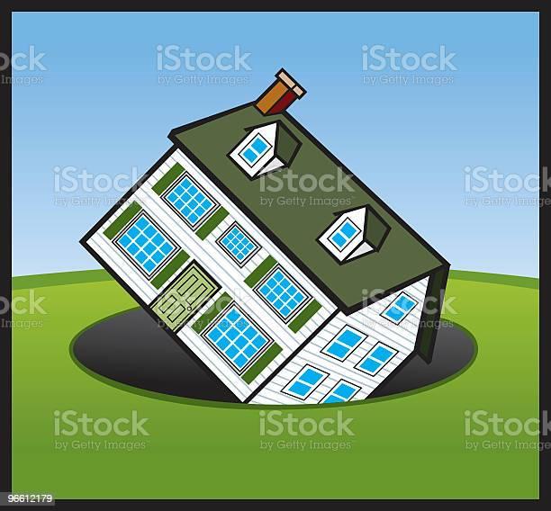 Дом Из Денег Отверстие — стоковая векторная графика и другие изображения на тему Архитектура
