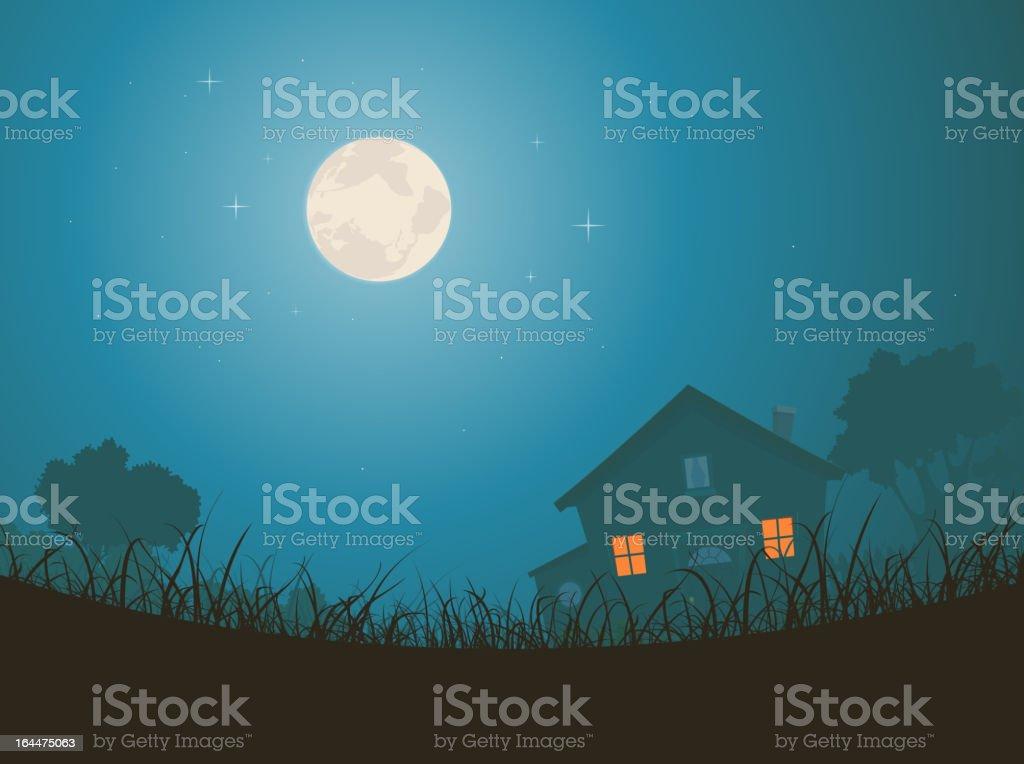 House In Moonlight Landscape vector art illustration