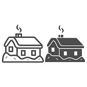 House in snow line and solid icon, World snow day concept, Small winter cottage sign on white background, christmas home icon in outline style for mobile concept and web design. Vector graphics