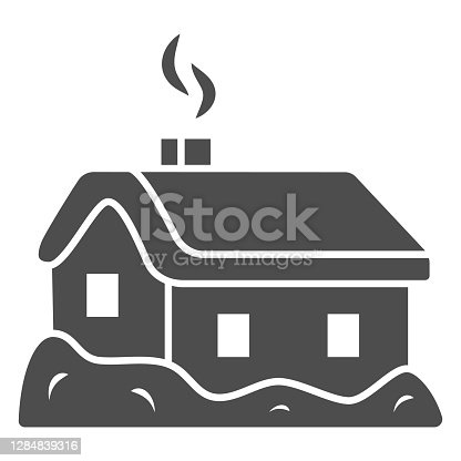 istock House in snow solid icon, World snow day concept, Small winter cottage sign on white background, christmas home icon in glyph style for mobile concept and web design. Vector graphics. 1284839316