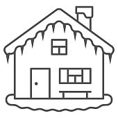 House in snow thin line icon, New Year concept, Small winter house sign on white background, Christmas home icon in outline style for mobile concept and web design. Vector graphics