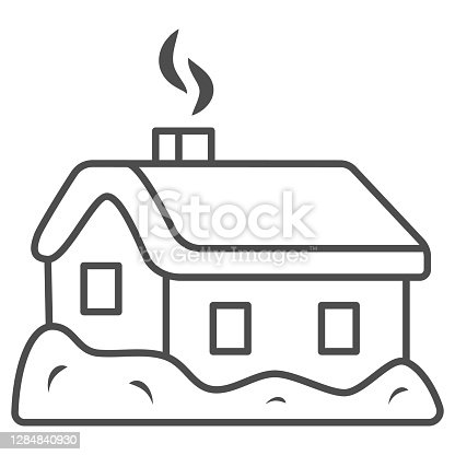 istock House in snow thin line icon, World snow day concept, Small winter cottage sign on white background, christmas home icon in outline style for mobile concept and web design. Vector graphics. 1284840930