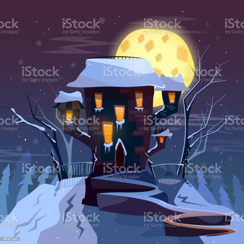 House in snowfall. Merry christmas greeting card house in snowfall merry christmas greeting card – cliparts vectoriels et plus d'images de bleu libre de droits