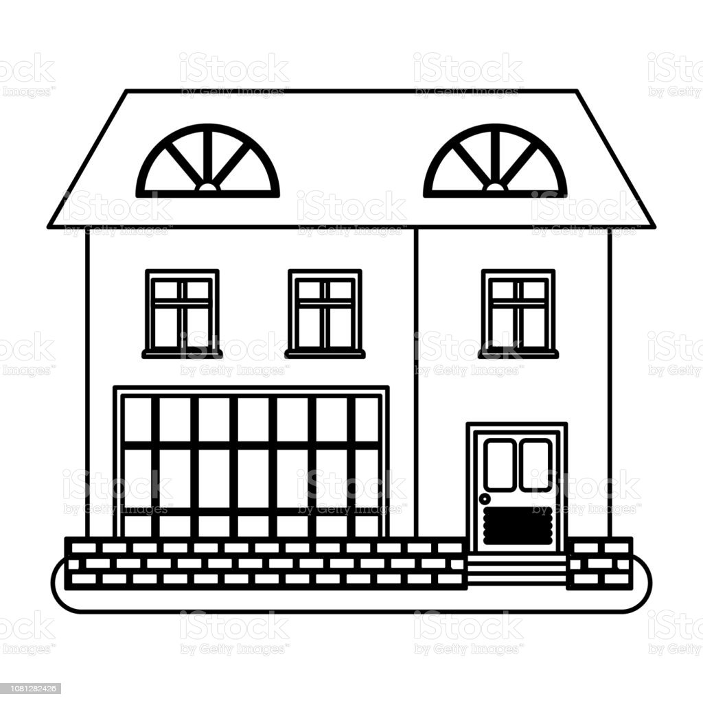 House in thin line style on white background vector art illustration