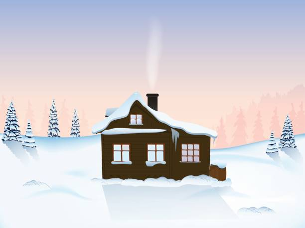 haus in winterbergen - schneeflocke sonnenaufgang stock-grafiken, -clipart, -cartoons und -symbole