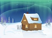 house in the woods. the snowy landscape. Northern lights. vector illustration. EPS 10.