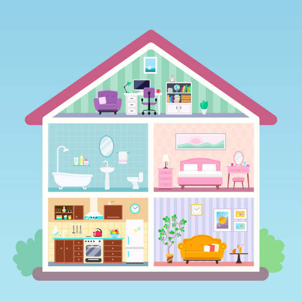 House inside cross section rooms with furniture Modern house inside interior in cut. Rooms with furnishing: kitchen, bathroom, living room, loft with workplace, bedroom. Vector flat illustration dollhouse stock illustrations