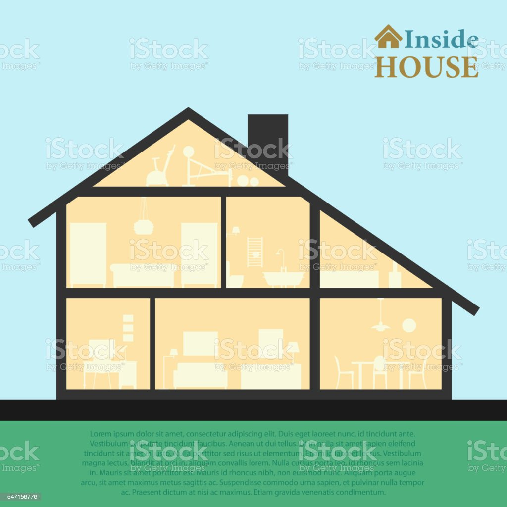 House Inside Detailed Modern Interior In Cut Flat Style Vector Stock ...