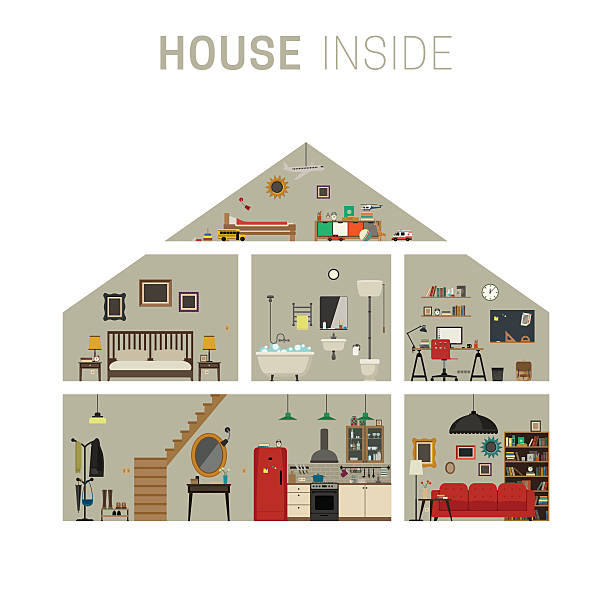 House inside interior. House in cut infographics with furniture. Vector flat house with set of basic rooms. bedroom silhouettes stock illustrations