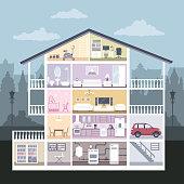 Modern graphic cute house in cut