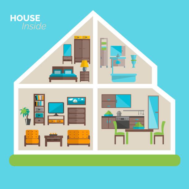 ilustrações de stock, clip art, desenhos animados e ícones de house inside - kitchen counter