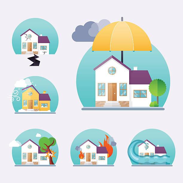 bildbanksillustrationer, clip art samt tecknat material och ikoner med house insurance business service icons template. property insura - house after fire