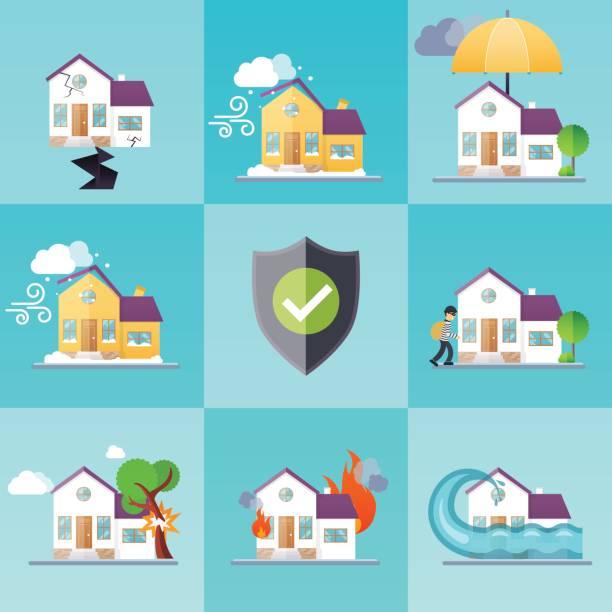 bildbanksillustrationer, clip art samt tecknat material och ikoner med ikoner för hus försäkringsverksamhet tjänstmall. - house after fire