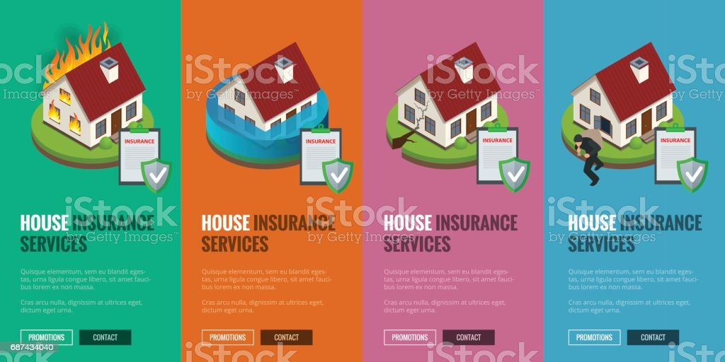 House Insurance Business Service Isometric Icons Template Vector Illustration Can Be Used For Workflow