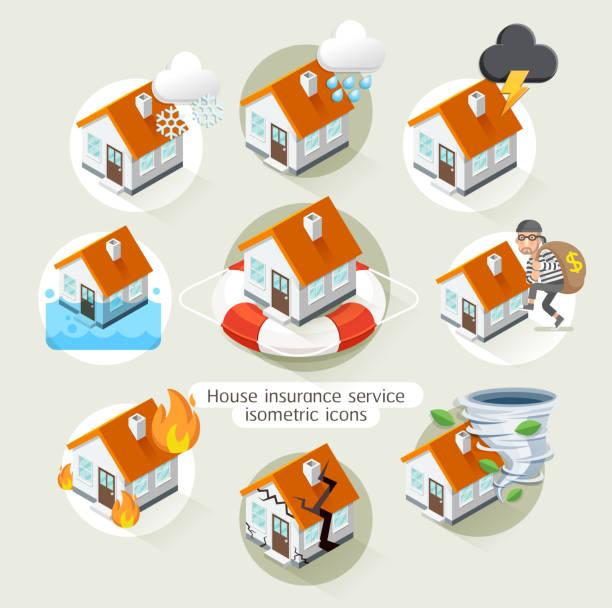 illustrations, cliparts, dessins animés et icônes de assurance maison isométrique icônes de modèle de service d'affaires. - desastre natural