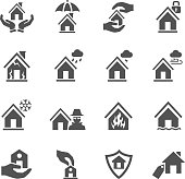 House insurance icons set