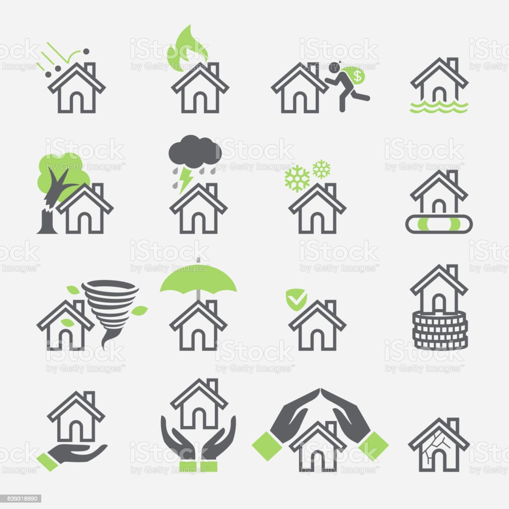 House insurance services icons. vector art illustration