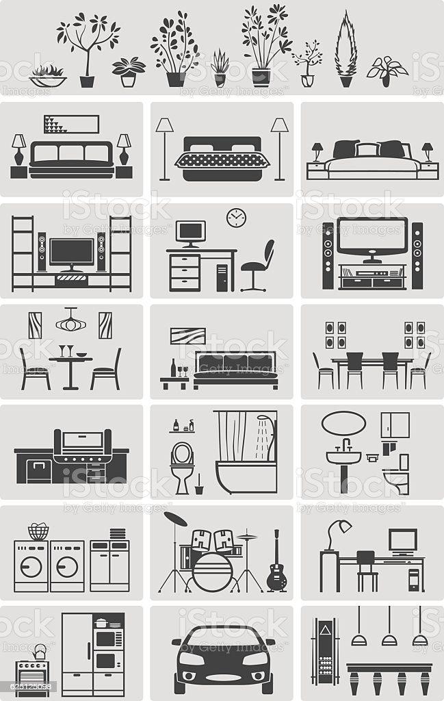 house interior elements silhouette – Vektorgrafik