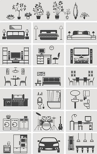 illustrations, cliparts, dessins animés et icônes de house interior elements silhouette - nouveau foyer