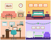 House interiors living room, bedroom, office place, baby nursery. Flat vector design with furniture including sofa, fireplace, bed, desk, laptop, crib and changing table.