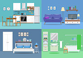 House interior, kitchen, living room, bedroom, bathroom. Flat style, vector illustration design template