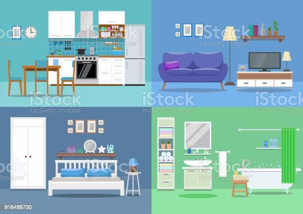 House interior kitchen living room bedroom bathroom flat style vector vector id916486700?b=1&k=6&m=916486700&s=612x612&h=nlh9uxb7riz4px9wxgw u4qmzd3u3lvpshtswszzhjc=
