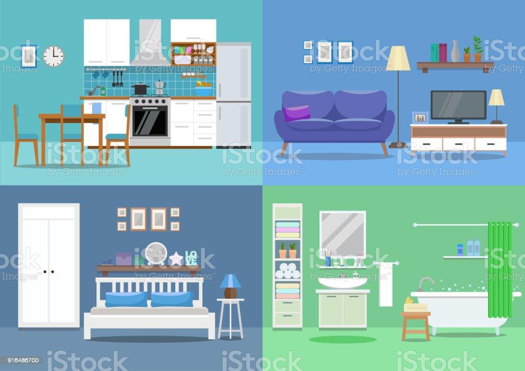House interior, kitchen, living room, bedroom, bathroom. Flat style, vector illustration design template vector art illustration