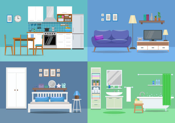 illustrazioni stock, clip art, cartoni animati e icone di tendenza di house interior, kitchen, living room, bedroom, bathroom. flat style, vector illustration design template - cucina domestica
