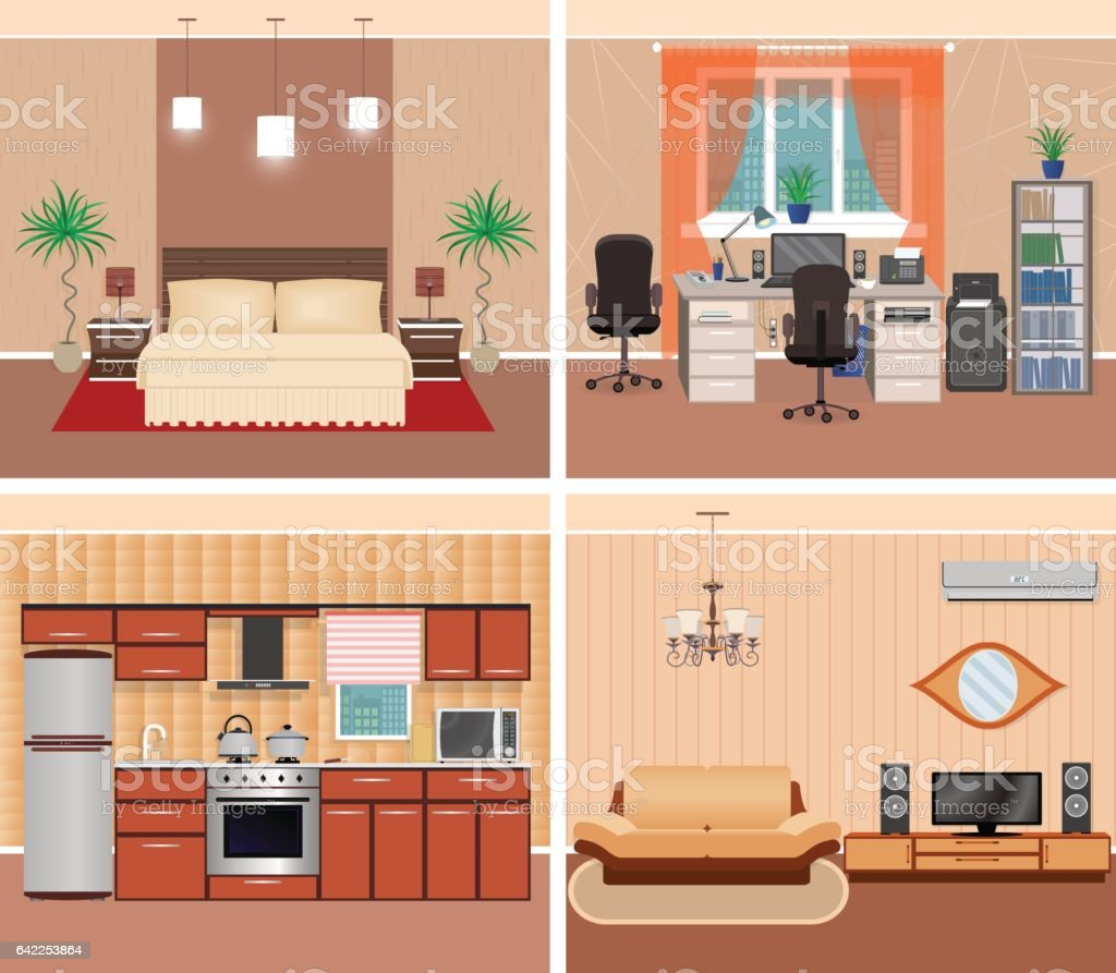 House interior living room, domestic workplace, bedroom and kitchen. Home design including furniture and electonics.