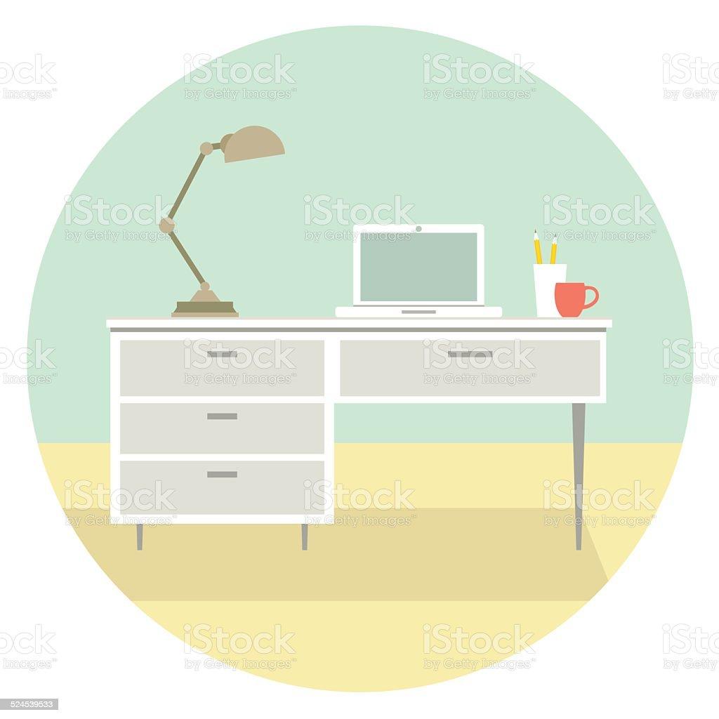 House Interior Office vector art illustration