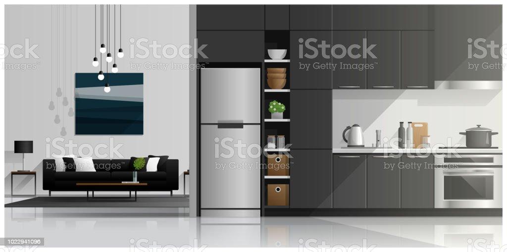 Haus Innenszene Mit Moderner Kuche Und Wohnzimmer Vektor Abbildung