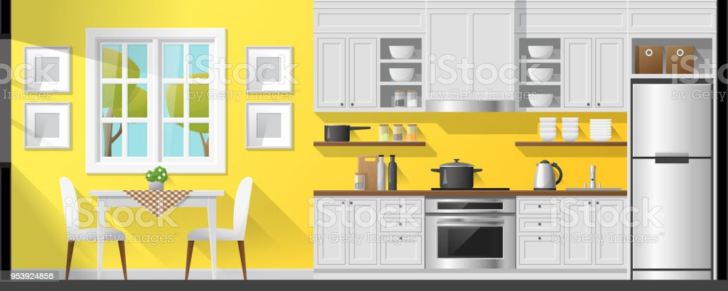House interior section background including dining room and kitchen , vector , illustration House interior section background including dining room and kitchen , vector , illustration Apartment stock vector