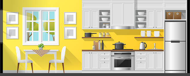 House Interior Section Background Including Dining Room And Kitchen Vector Illustration Stock Illustration - Download Image Now