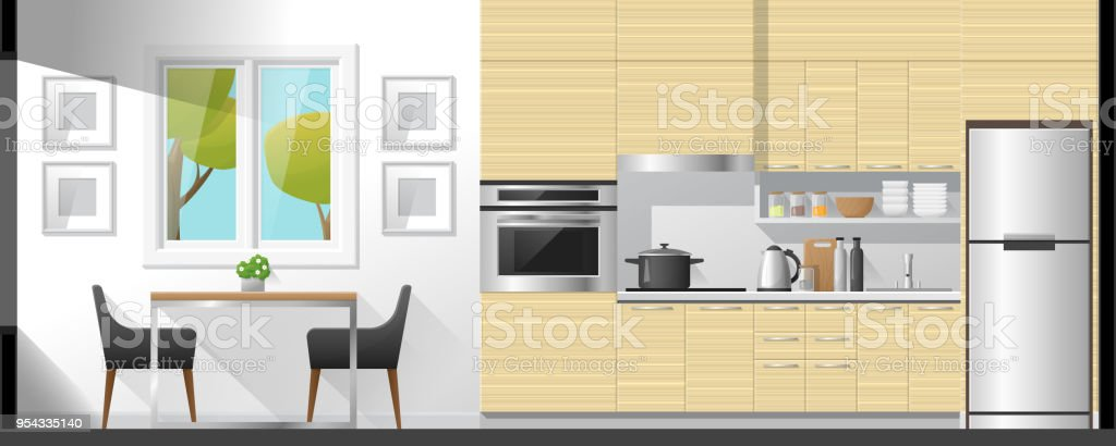 Good House Interior Section Background Including Dining Room And Kitchen ,  Vector , Illustration Royalty Free